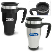 Travel Mugs printed or laser engraved with your logo.